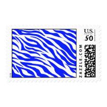 Trendy Blue White Zebra Stripes Wild Animal Prints Postage