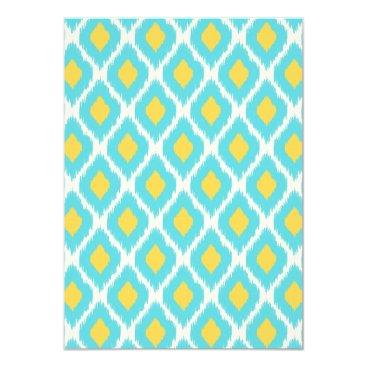 Aztec Themed Trendy Blue Yellow Aztec Ikat Tribal Pattern Card