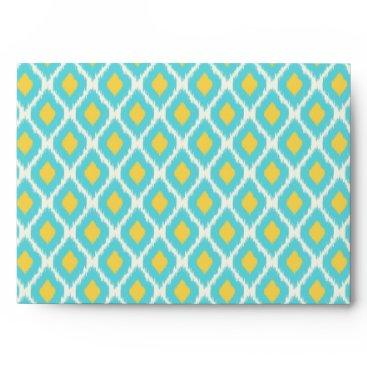 Aztec Themed Trendy Blue Yellow Aztec Ikat Tribal Pattern Envelope