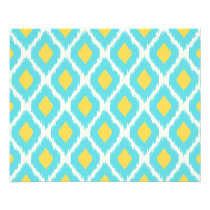 Trendy Blue Yellow Aztec Ikat Tribal Pattern Flyer