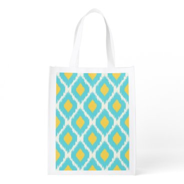 Aztec Themed Trendy Blue Yellow Aztec Ikat Tribal Pattern Grocery Bag