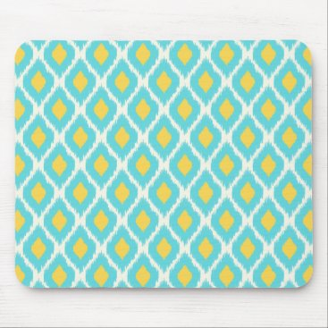 Trendy Blue Yellow Aztec Ikat Tribal Pattern Mouse Pad
