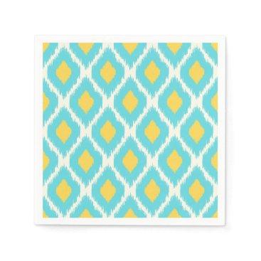 Trendy Blue Yellow Aztec Ikat Tribal Pattern Paper Napkin
