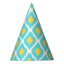 Trendy Blue Yellow Aztec Ikat Tribal Pattern Party Hat
