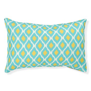 Aztec Themed Trendy Blue Yellow Aztec Ikat Tribal Pattern Pet Bed