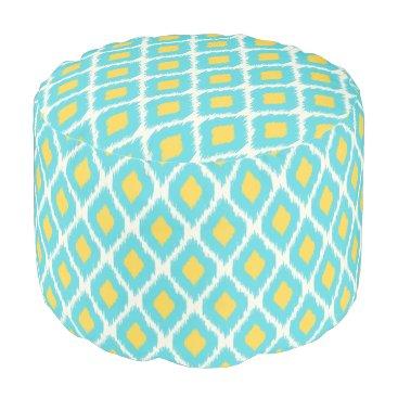 Trendy Blue Yellow Aztec Ikat Tribal Pattern Pouf
