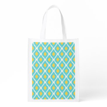 Aztec Themed Trendy Blue Yellow Aztec Ikat Tribal Pattern Reusable Grocery Bag
