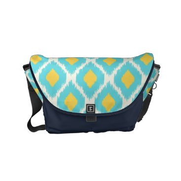 Aztec Themed Trendy Blue Yellow Aztec Ikat Tribal Pattern Small Messenger Bag