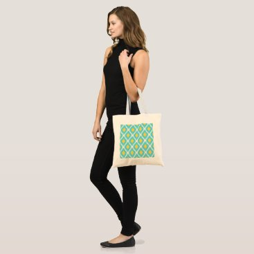 Trendy Blue Yellow Aztec Ikat Tribal Pattern Tote Bag