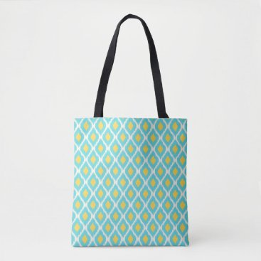 Aztec Themed Trendy Blue Yellow Aztec Ikat Tribal Pattern Tote Bag
