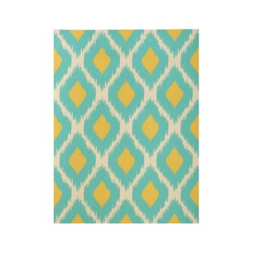 Aztec Themed Trendy Blue Yellow Aztec Ikat Tribal Pattern Wood Poster