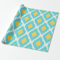 Trendy Blue Yellow Aztec Ikat Tribal Pattern Wrapping Paper