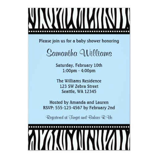 Trendy Blue Zebra Boy Baby Shower 5x7 Paper Invitation Card