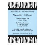 Trendy Blue Zebra Boy Baby Shower Personalized Invite