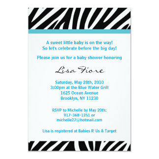 Trendy Blue Zebra Print Baby Shower Invitations