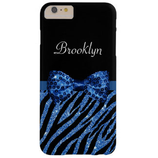 Trendy Blue Zebra Print FAUX Glitz Bow With Name Barely There iPhone 6 Plus Case