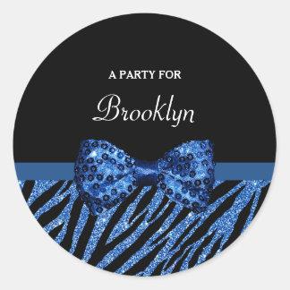 Trendy Blue Zebra Print FAUX Glitz Bow With Name Classic Round Sticker