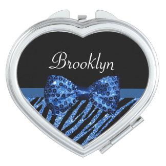 Trendy Blue Zebra Print FAUX Glitz Bow With Name Compact Mirror