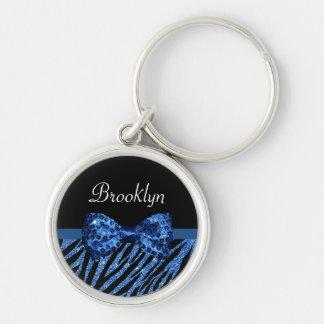 Trendy Blue Zebra Print FAUX Glitz Bow With Name Keychain