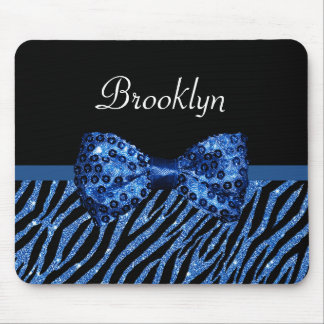 Trendy Blue Zebra Print FAUX Glitz Bow With Name Mouse Pad