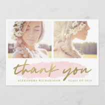 Trendy Blush and Gold Two Photo Thank You Announcement