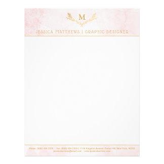 Trendy Blush Pink & Gold Foil Monogram Wreath Letterhead