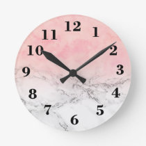 Trendy blush pink watercolor ombre white marble round clock