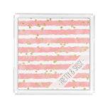 Trendy blush pink watercolor stripes gold confetti acrylic tray