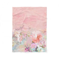Trendy blush watercolor ombre floral watercolor fleece blanket