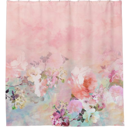 Trendy Blush Watercolor Ombre Floral Shower Curtain