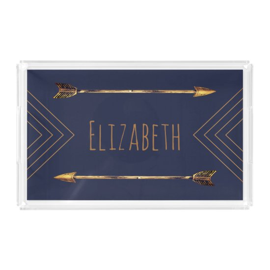 Trendy Bohemian Gold Arrows | Personalized Acrylic Tray