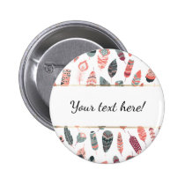 Trendy Bohemian Style Feathers Pattern Pinback Button