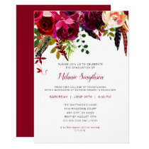 Trendy Boho Burgundy floral graduation party Card