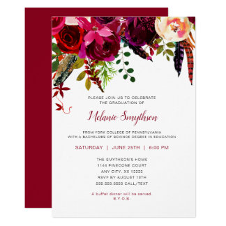 Graduation party invitations announcements zazzle trendy boho burgundy floral graduation party card stopboris Gallery