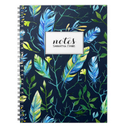 Trendy Boho Feather Nature Pattern Notebook