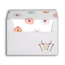 Trendy Boho Floral Cow Skull Envelope