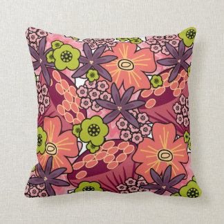 Trendy Boho Hippie Chic Bold Floral Patterns Throw Pillow