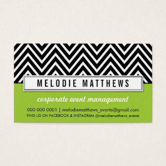 TRENDY bold chevron pattern panel black lime green Business Card
