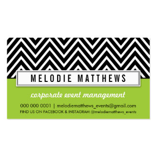 TRENDY bold chevron pattern panel black lime green Double-Sided Standard Business Cards (Pack Of 100)