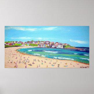 Trendy Bondi  -Abstract, beach wall-art painting Poster
