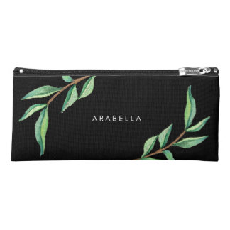 Trendy Botanical Green Leaves on Black Pencil Case