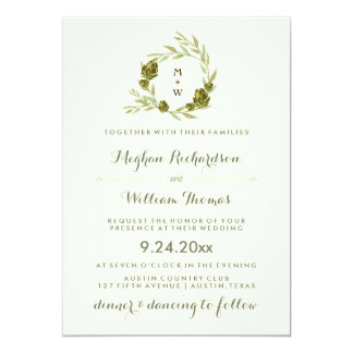Trendy Botanical Wreath with Leaves and Artichokes Card