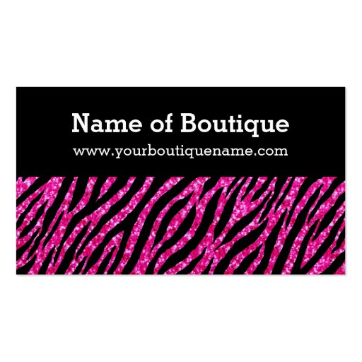 Trendy Boutique Hot Pink and Black Zebra Glitter Business Card Template