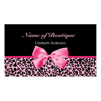Trendy Boutique Pink And Black Leopard Pink Ribbon Double-Sided Standard Business Cards (Pack Of 100)