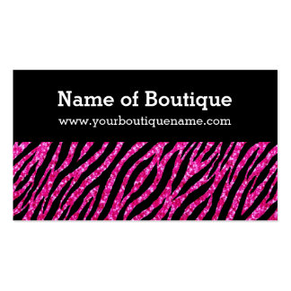 Trendy Boutique Pink and Black Zebra FAUX Glitz Business Card