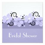 "Trendy Bridal Shower Invite - Lavender Flowers 5.25"" Square Invitation Card"