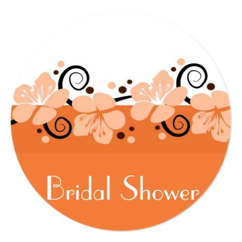 Trendy Bridal Shower Invite -  Orange Flowers