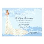 Trendy Bride Bridal Shower Blue Invitation