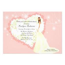 Trendy Bride Bridal Shower Heart Invitation