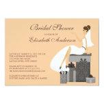 Trendy Bride Bridal Shower Invitation Peach Gray